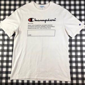 Champion Velvet Logo Vintage Style Heavy Cotton T